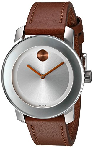 Movado Women's Swiss Quartz Stainless Steel and Leather Watch, Color: Brown