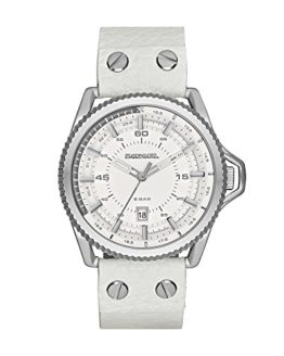 Diesel Men's Rollcage Stainless Steel White Leather Watch