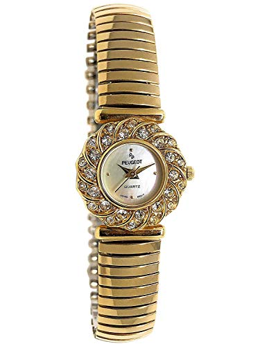 Peugeot Women 14Kt Gold Plated Crystal Bezel Watch