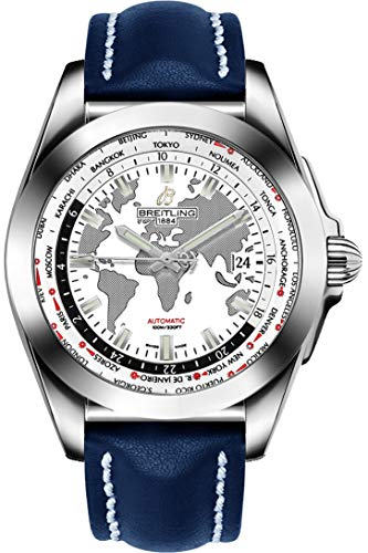 Breitling Galactic Unitime Steel w/Blue Leather Strap Men's Watch