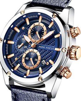 Men Watches Business, MF MINI FOCUS Quartz Waterproof (30M, Blue, Casual)