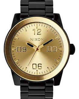Nixon Mens Corporal SS Japanese quartz Stainless Steel watches Black / Gold A346