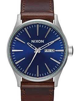 Nixon Men's 'Sentry Leather' Quartz Stainless Steel Sport Watch