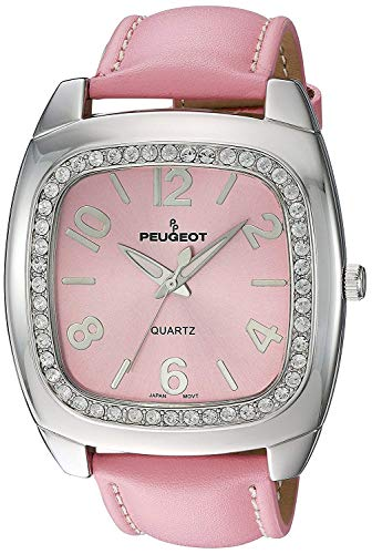 Peugeot Women's 310PK Silver-Tone Swarovski Crystal Accented Pink Leather Watch