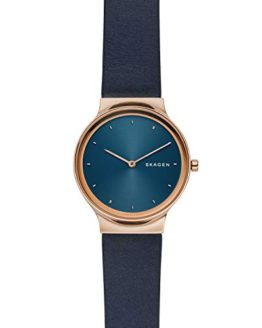 Skagen Women's Quartz Stainless Steel and Leather Casual Watch, Color:Blue