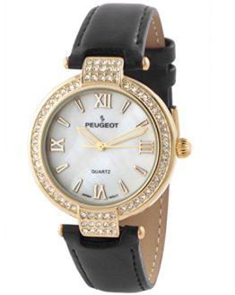 Peugeot Women's 14K Plated Crystal Bezel Dress Wrist Watch w/Black Leather