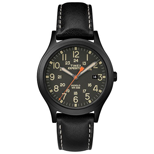 Timex Unisex Expedition Scout 36 Black Leather Strap Watch