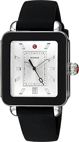 Michele Women's Swiss Quartz Stainless Steel and Rubber Casual Watch