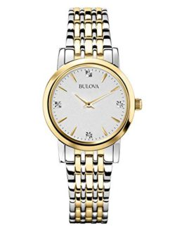 Bulova Women's Diamond Accented Silver-Tone Bracelet Watch