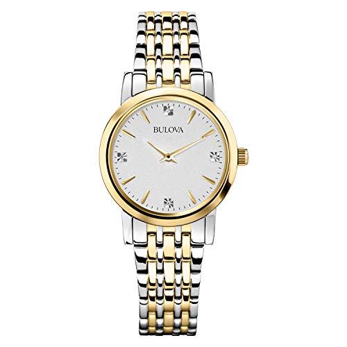 Bulova Women's Diamond Accented Silver-Tone Bracelet Watch