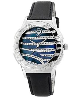 "Brillier Unisex ""Kalypso"" Diamond-Accented Stainless Steel Watch"