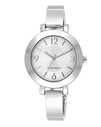 Nine West Women's Silver-Tone Sunray Dial and Bangle Watch