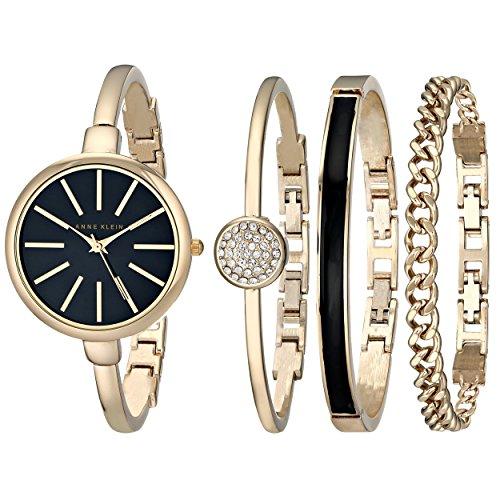 Anne Klein Women's Gold-Tone Watch and Bracelet Set