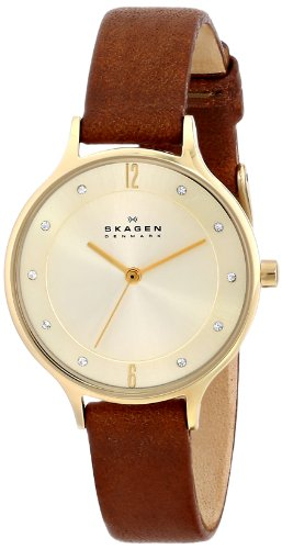 Skagen Women's Anita Saddle' Quartz Stainless Steel and Leather Casual Watch