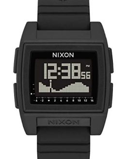 Nixon Base Tide Pro Black Men's Durable Surf Watch with Silicone Band