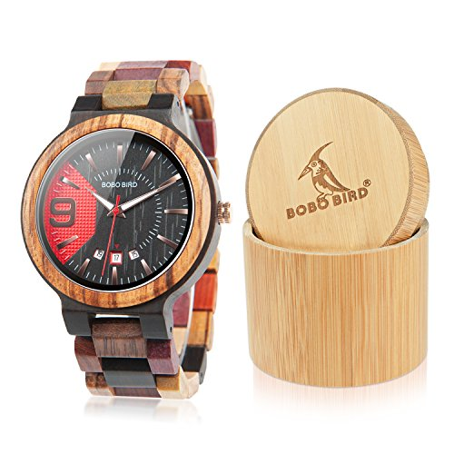 BOBO BIRD Men's Colorful Wooden Watches Analog Quartz Date Display Watch