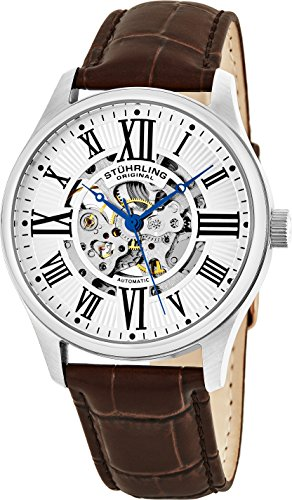 Stuhrling Original Men's Atrium Automatic Skeleton Brown Leather Band Watch