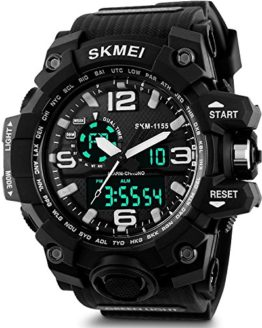 Men's Analog Sports Watch, Aposon Military Wrist Watch Large Dual Dial Digital