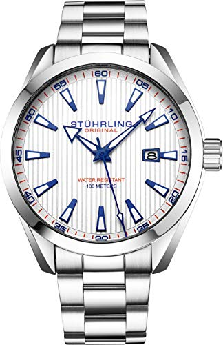 Stuhrling Original Mens Wrist Watch White Analog Dial with Date