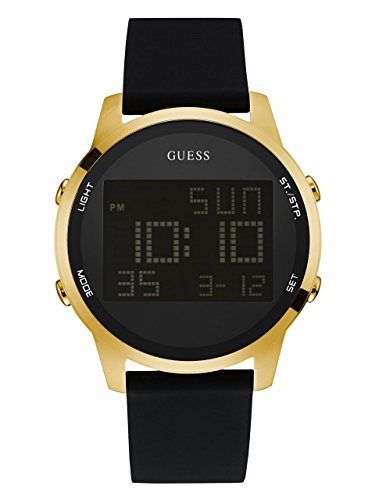 GUESS Men's Quartz Metal and Silicone Casual Watch, Color:Black