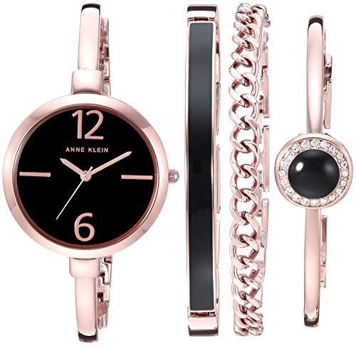 Anne Klein Women's Rose Gold-Tone Bangle Watch and Bracelet Set