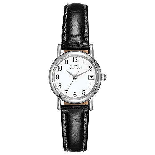 """Citizen Women's """"Eco-Drive"""" Stainless Steel and Black Leather Watch"""