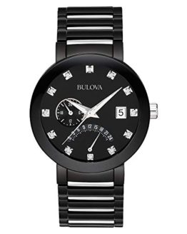 Bulova Men's Diamond-Accented Black Stainless Steel Watch