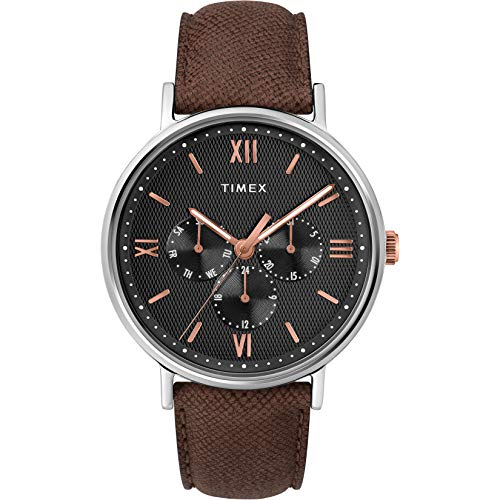Timex Men's Multifunction Brown/Black/Rose Gold Leather Strap Watch