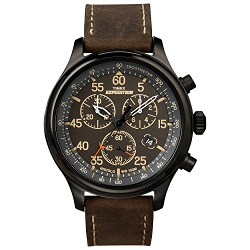 Timex Men's Expedition Rugged Black/Brown Leather Strap Watch