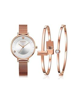 MAMONA Women's Mesh Band Watch Rose Gold Stainless Steel