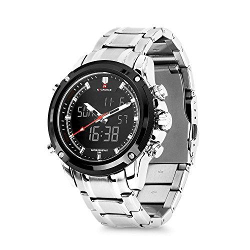 Business Mens Analog Digital Watch, Quartz Dual Time Zone Electronic