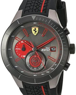 Ferrari Men's Quartz Stainless Steel and Silicone Watch, Color:Black