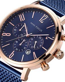 Men's Business Watch, MINI FOCUS Waterproof Steel Mesh Chronograph Watch
