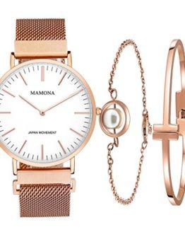 Ladies Quartz Stainless Steel Watch Set- Rose Gold Women Watch