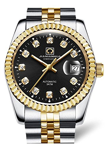 Men Business Luxury Sport Automatic Date Wristwatch (Black)