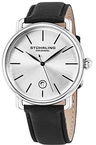Stuhrling Original Ascot Mens Designer Watch - Swiss Quartz Silver Dial