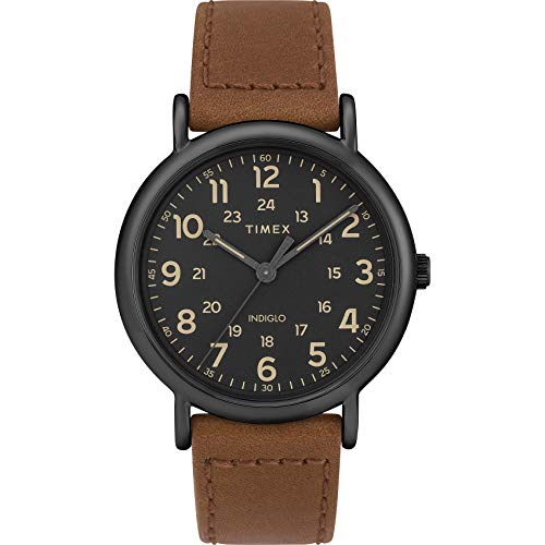 Timex Men's Weekender 40 Brown/Black Two-Piece Leather Strap Watch