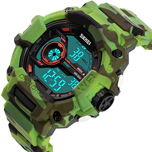Boys Camouflage Digital Sports Watch, Aposon LED Screen Military Wrist Watch