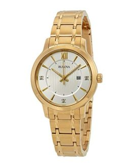 Bulova Ladies Gold Tone Stainless Steel and Diamond Watch