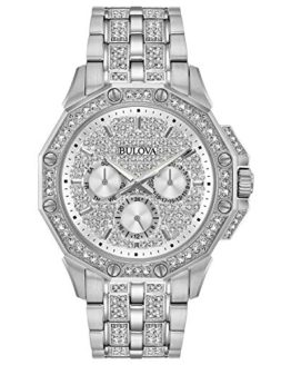 Bulova Men's Quartz Stainless Steel Dress Watch, Color:Silver-Toned