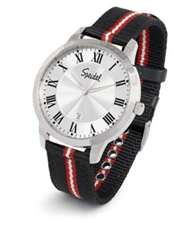 Speidel Mens Roman Numeral Watch with Black and Red NATO Band