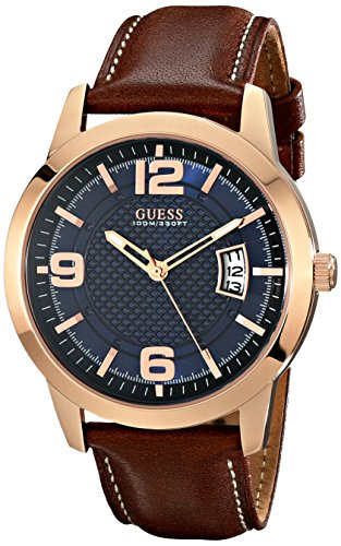GUESS Men's Stainless Steel Leather Watch, Color: Brown