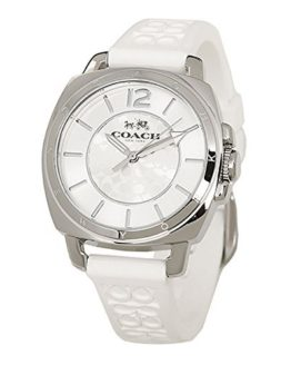 Coach Womens 14502093 Mini Boyfriend Signature White Strap Silver Tone Watch