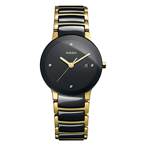 Rado Women's Centric Jubile Two Tone Black Ceramic Bracelet Watch