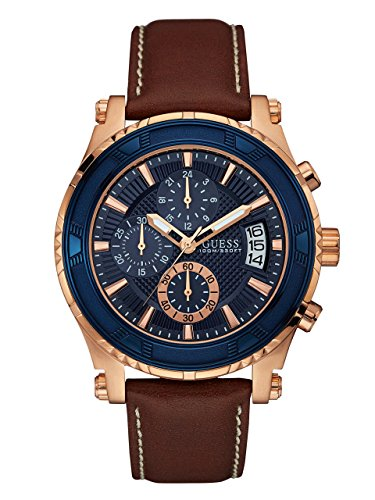 GUESS Men's Quartz Stainless Steel and Leather Casual Watch