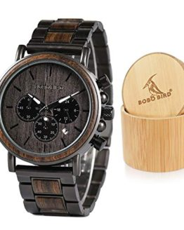 Mens Wooden Watches Business Casual Wristwatches Stylish Ebony Wood