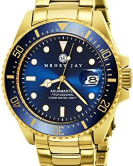 "Henry Jay Mens 23K Gold Plated Stainless Steel ""Specialty Aquamaster"""