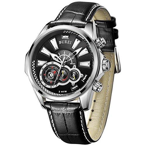 BUREI Men's Watches Chronograph Quartz Wristwatch