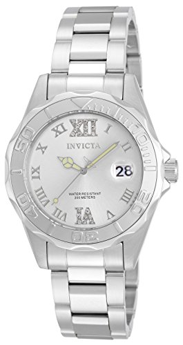 Invicta Women's Pro Diver Silver-Tone Watch with Crystal Accents