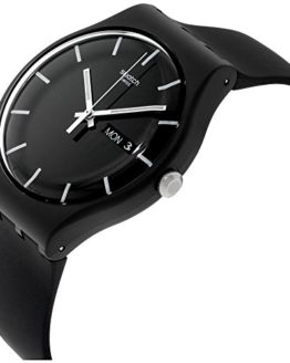 Swatch ' Mono Black' Quartz Plastic and Silicone Casual Watch, Color:Black